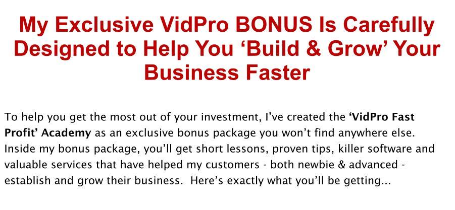 VidPro Review Bonus