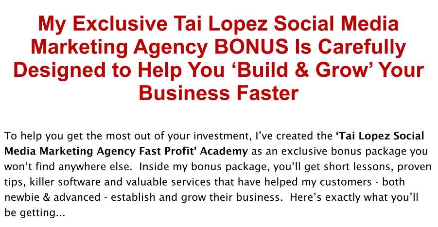 Tai Lopez Social Media Marketing Agency Review Bonus